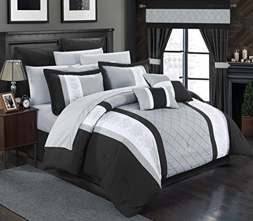 Chic Home 24 Piece Danielle Complete Pintuck Embroidery Color Block Bedding, Sheets, Window Panel Collection Bed in a Bag Comforter Set, Queen, Black