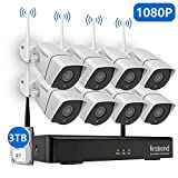 1080P Wireless Security Camera System, Firstrend 8CH Wireless NVR System with 8pcs 1080P HD Security Camera and 3TB Hard Drive Pre-Installed,P2P Wireless Security System for Indoor and Outdoor Use
