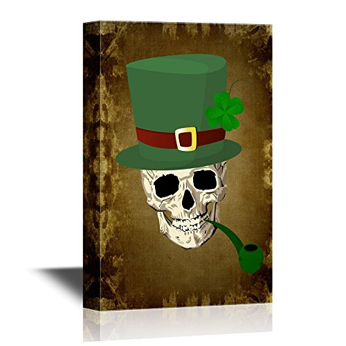 Skull with Four Leaf Lucky Clover