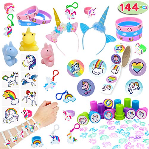 JOYIN Unicorn Party Favors Supplies Set of 144 Includes Headbands, Goodie Bags, Cupcake Toppers and Wrappers, Necklace, Sticker, Keychain, Bracelet, Tattoos, Stamp for Birthday Party Decorations