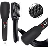 UthCracy Ionic Hair Straightener Brush Anti Static Detangling Styling Tool, Anion Hair Comb Hair Care, Instant Magic Silky Straight Hair Styling Brush with PTC Ceramic Heating for Quick Styling