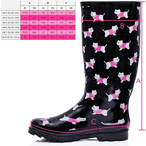 Spylovebuy KARLIE Flat Festival Wellies Wellington Knee High Rain Boots Dog 5gG0QNFcAc