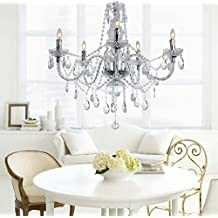 Crystal Style Hanging Pendant Chandelier Light With 5 Candle Lights E12 Base Lighting Fixture Classic Modern For Bedroom Livingroom Dining Room
