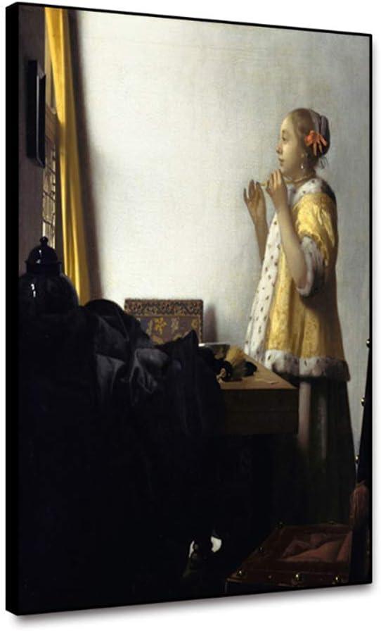 dubdubd Arte de la Lona Pintura al óleo Mujer con un Collar de Perlas Cartel Imagen Decoración de la Pared Decoración Moderna del hogar -24x32 IN Sin Marco