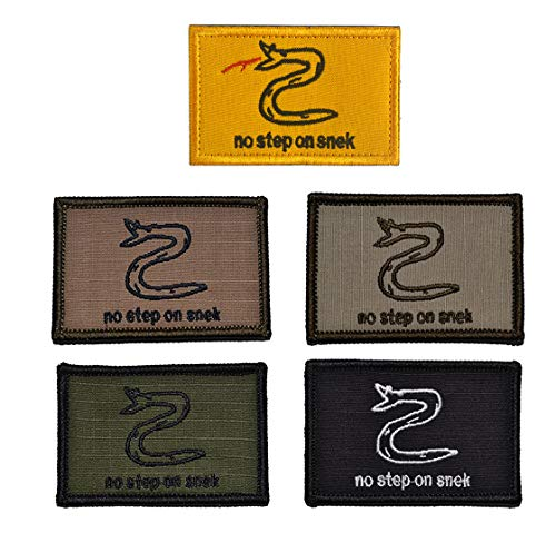 Antrix 5 Pack Mix Color Tactical No Step On Snek Patches Military Morale Patches for Caps,Bags,Backpacks,Tactical Vest,Military Uniforms Etc.