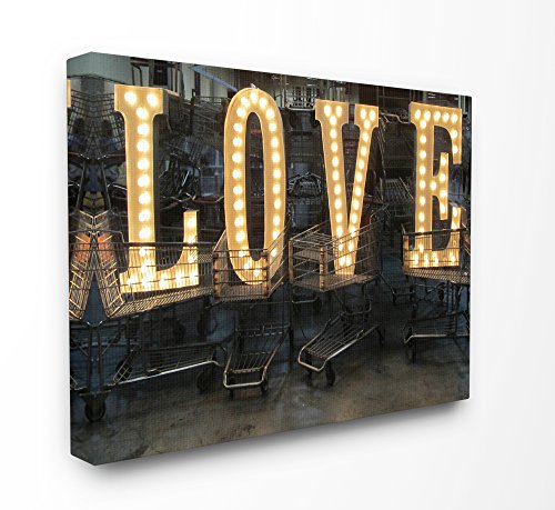 Stupell Home Décor L O V E Lights in Carts Photography Oversized Stretched Canvas Wall Art, 24 x 1.5 x 30, Proudly Made in USA
