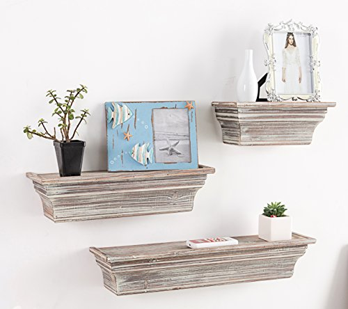 MyGift Rustic Torched Wood Wall Mounted Display Floating Shelves, Set of 3, Brown - A set of 3 wall mounted torched whitewash finish wood floating shelves in assorted sizes. Perfect for creating a unique decorative display on any wall in your home with photos, plants, collectibles and more. Simple to mount on any wall using the pre-drilled slots on the back of each shelf (mounting hardware not included). - wall-shelves, living-room-furniture, living-room - 51zEXdXkayL -