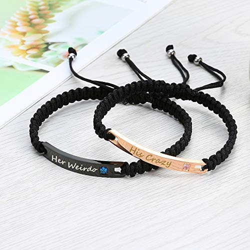 GAGAFEEL Custom Bracelet Engraved Personalized ID Date Name Promise DIY Women Men Cuff Bangle His Her Couples Bracelets Braided Rope Gift for Lover Bestfriends (Style 1- His Crazy Her Weirdo)