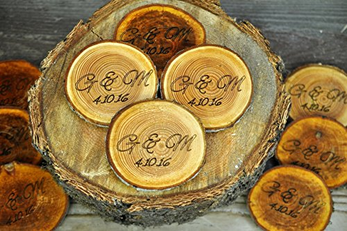 Engraved Rustic Wood Coasters Personalized Wood Coaster Rustic Wood Slices Engraved Tree Slices 3