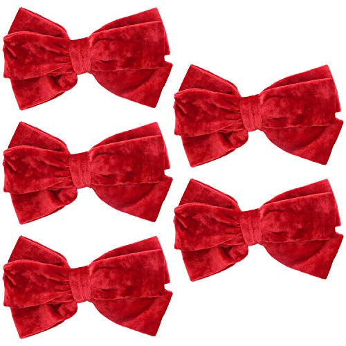 Red Crushed Velvet Bow Hair Clip Large - Set of 5