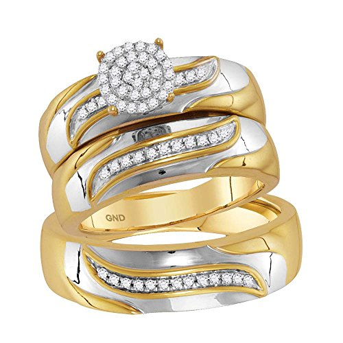 Jewels By Lux 10kt Two-tone Gold His & Hers Round Diamond Cluster Matching Bridal Wedding Ring Band Set 1/5 Cttw Ring Size 6 (10kt Two Tone Diamond Ring)