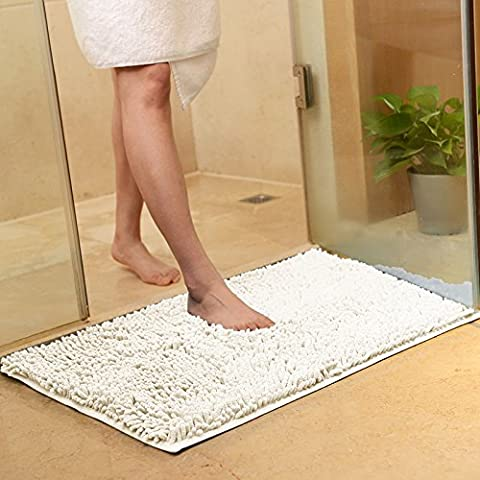 USFEEL Super Soft Microfiber Bathroom Mat Non Slip Absorbent Shag Shower Rugs for Bathroom, Kitchen, Bathtub and Bedroom (Large 50 x 80 cm, (Shag Bathroom Rug White)