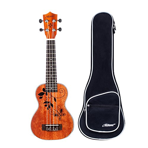 Makanu Soprano Ukulele 21 Inch Mahogany Ukulele with Tattoo Kids Guitar for Professional - Matte Finish by makanu