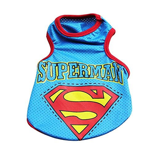 Baiyu Dog Pet Puppy Vest Summer Mesh Superman Shirt Costumes Suit Dress Clothes Outfit Apparel Breathable Coat Blue - Size XL -