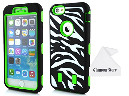 iPhone 6 Plus Case,3 IN 1 Combo Dual Layer Flex Zebra Hybrid Soft Silicone Hard PC Case Back Cover For Apple iPhone 6 Plus 5.5 inch With a Free Cleaning Cloth As a Gift (Green)