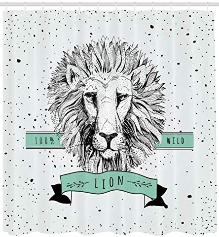 Lunarable Lion Shower Curtain Hand Drawn Black And White Lion Head With Black Dotted Backdrop Retro Cloth Fabric Bathroom Decor Set With Hooks 105 Extra Wide Coconut Black Mint Green Home