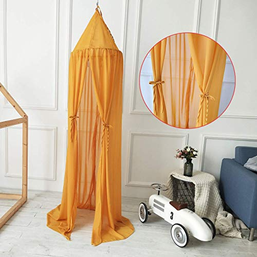 Bed Canopy, Dyna-Living Mosquito Stopping Net Dome Light Block Out Room Decorate with Assembly Tools for Boys Girls Reading Playing Indoor Game House, Cotton, Yellow