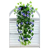 "XHSP 2 Bunches Artificial Vines 35.4"" Morning Glory Hanging Plants Silk Garland Fake Green Plant Home Garden Wall Fence Stairway Outdoor Wedding Hanging Baskets Decor"