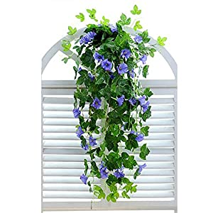 "XHSP 2 Bunches Artificial Vines 35.4"" Morning Glory Hanging Plants Silk Garland Fake Green Plant Home Garden Wall Fence Stairway Outdoor Wedding Hanging Baskets Decor 53"