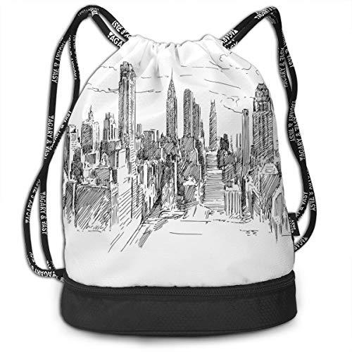 TRUSTINEE NYC Cityscape Tourism Travel Street Drawstring Bag Backpack Bundle Backpack