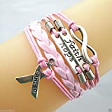SujareeShop Infinity//Faith/Hope/Breast Cancer Awareness Sign Leather Braided Bracelet Pink