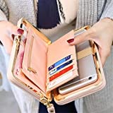 Fashion Large Capacity Women Bowknot Wallets Bow Tie Pocket Long Section Zipper Purse Phone Card Holder Clutch Wristlet Pink one size
