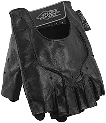 Power Trip Graphite Gel Fingerless Leather Glove Motorcycle Street Bike