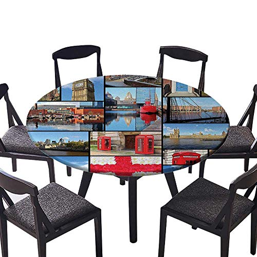 Modern Simple Round Tablecloth Red Telephone Booth Clock Tower Bridge on River British Flag with Flowers Blue for Kitchen 63