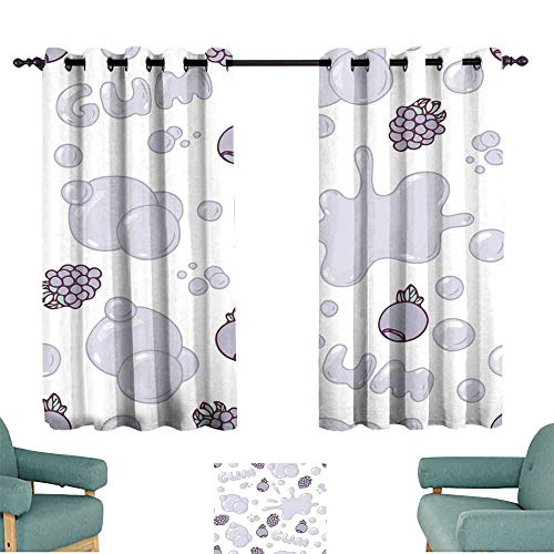 Price comparison product image Warm Family Simple Curtain Seamless Pattern with Hand Drawn Blackberries and Blueberries Bubble Gum Forest Berries Flavor Privacy Protection