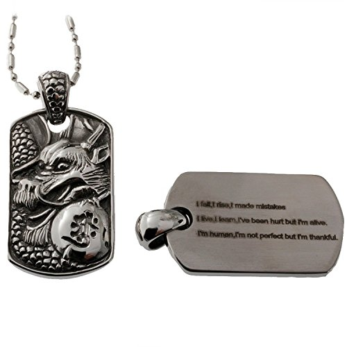 R.H. Jewelry Stainless-steel Mens Dog Tag Dragon Sentiment Pendant I Fall, I Rise, I Made Mistakes