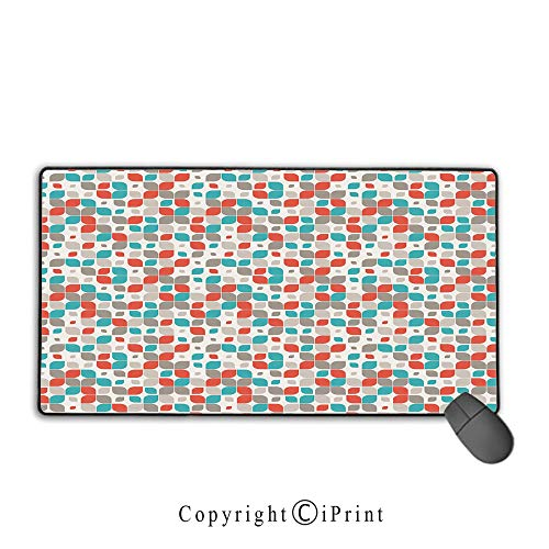 Gaming Mouse pad,Retro,Old Fashioned Style Abstract Mosaic Grid Inspired Floral Pattern Classical Decorative,Grey Turquoise Red,Suitable for laptops, Computers, PCs, Keyboards, Mouse pad with Lock,9. (Giga Grid)