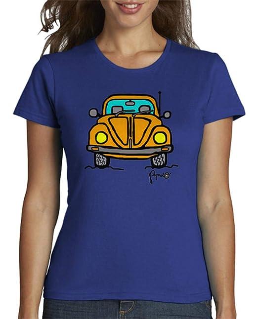 latostadora - Camiseta Escarabajo para Mujer Azul Royal S