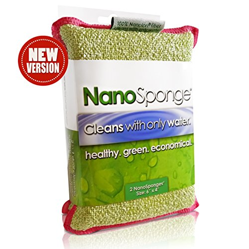 """Nano Sponge Cleaning Sponges. Supersized Everyday Heavy Duty Household Kitchen and Dish Sponge. 2 pack. 6 x 4"""""""