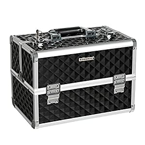 """51zEaRhFvqL. AA300  - SONGMICS 13.5"""" Makeup Train Case Professional Cosmetic Box with Adjustable Dividers 4 Trays and 2 Locks Black UMUC12C"""