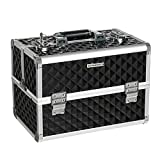 SONGMICS 13.5' Makeup Train Case Professional Cosmetic Box with Adjustable Dividers 4 Trays and 2 Locks Black UMUC12C