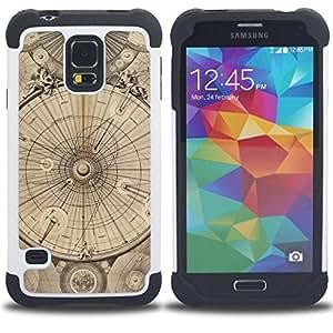 """Pulsar ( Ingeniería Dibujo Pergamino"""" ) SAMSUNG Galaxy S5 V / i9600 / SM-G900 V SM-G900 híbrida Heavy Duty Impact pesado deber de protección a los choques caso Carcasa de parachoques [Ne"""