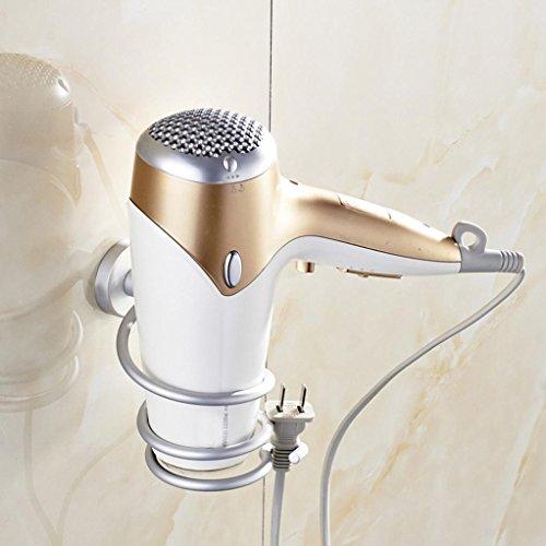 Iuhan Wall Hair Dryer Rack Space Aluminum Bathroom Wall Holder Shelf Storage (Silver)