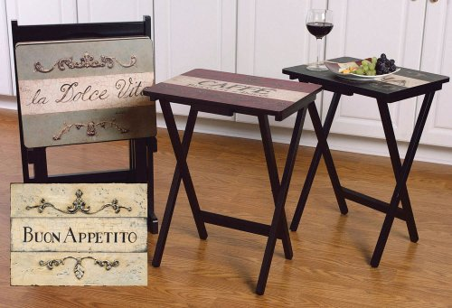 Price comparison product image Cape Craftsman TV Tray Set with Stand,  Cucina,  Set of 4