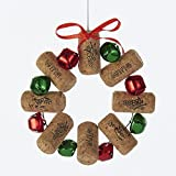 Kurt Adler WINE CORK WREATH WITH RED AND GREEN BELLS ORNAMENT