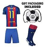 JerzeHero Barcelona Messi #10 / Neymar Jr #11 Youth Kids Soccer Jersey 4 in 1 Gift Set ✓ Soccer Jersey ✓ Shorts ✓ Socks ✓ Drawstring Bag ✓ Home or Away