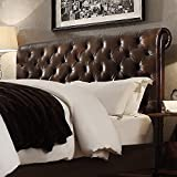 Modern Brown Bonded Leather Upholstered Rolled Top Button Tufted Chesterfield King Headboard – Includes Modhaus Living Pen