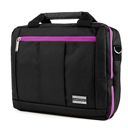 3 in 1 Purple Shoulder Messanger Bag w/ Accessory Pockets for Dell Latitude | AT&T Primetime - Mono Earset