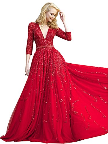 NINI.LADY Women's V Neck 3/4 Sleeve Empire A Line Beading Sequin Tulle Prom Gown Red US10