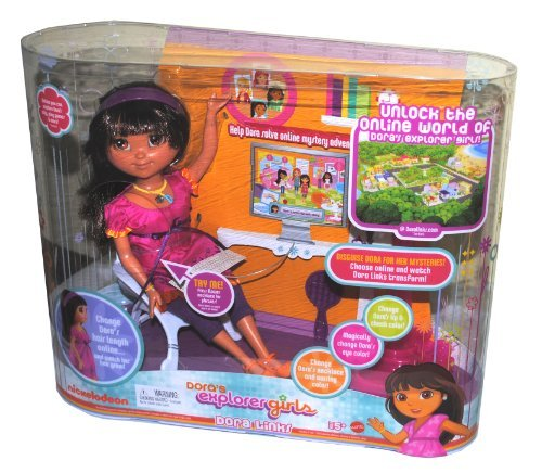 Nickelodeon Dora Links 12 Inch Doll with Lights and Sounds - Dora's Explorer Girls with Hairbrush, Bag, Doll Stand and USB Cable to Unlock Dora's Online World on Your Computer (Links Dora)