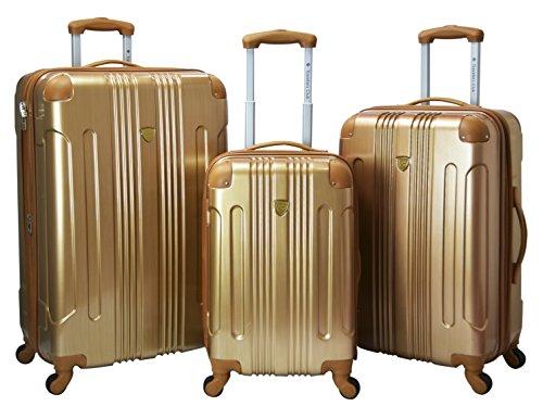 - Travelers Club Luggage Polaris 3-Piece Met Hardside Exp Spin Lug, Pale Gold