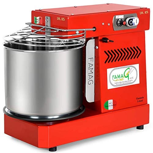 (Italian Famag IM-8S Spiral Dough Mixer for Home or Commercial, 12 Quart, Bright Red)