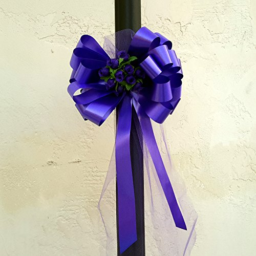 Purple Wedding Pull Bows with Tulle Tails and Rosebuds - 8