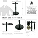 GBS Shaving Brush & Razor Stand- Black Matte Ensures Proper Storage of Your Best Tools Including Badger and Synthetic Brushes and All Razors Safety, DE and Straight