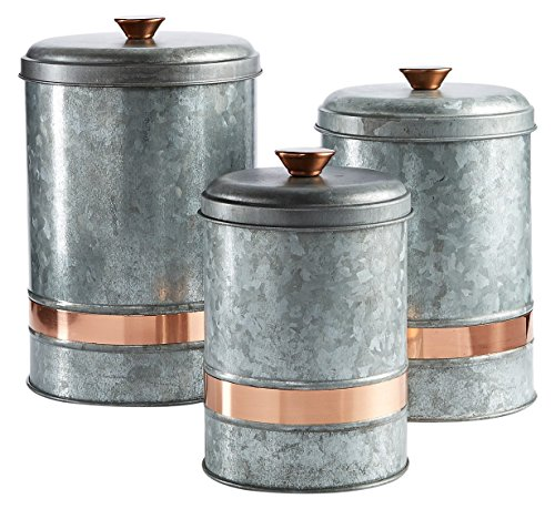 Galvanized Canisters Set of 3 ()
