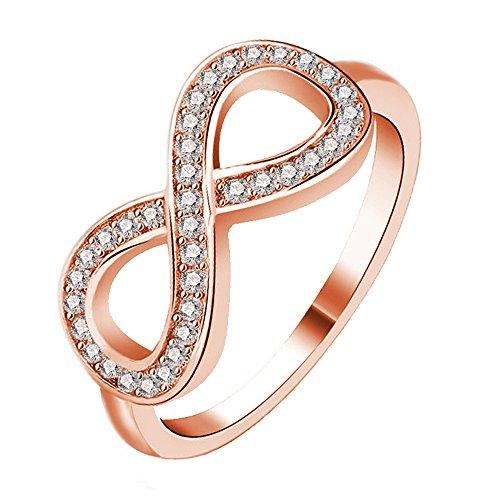 Amstt Frau Weiblicher Schmuck Ros¨¦gold Diamant-Ring Kupfer-Legierung